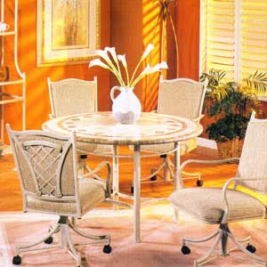 "Pastel Minson Waverly 48"" Round Marble Table and 4 Caster Chairs"