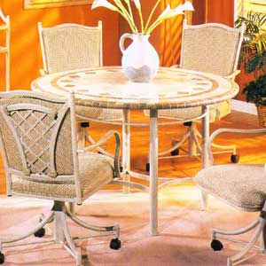 "Pastel Minson Waverly 48"" Round Phil Marble Top Table"