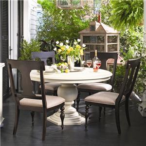 Paula Deen by Universal Paula Deen Home Round Dining Table w/ 4 Splat Back Chairs