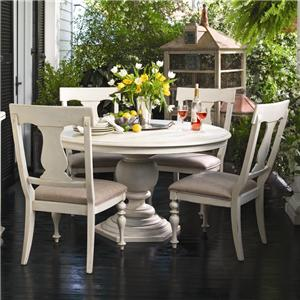 Paula Deen by Universal Paula Deen Home Round Dining Table w/ 4 Splat Back Chairs