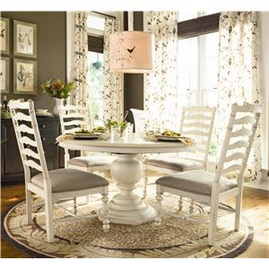 Round Dining Table w/ 4 Ladder Back Side Chairs