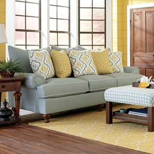 Traditional Stationary Sofa with Turned Wood Feet