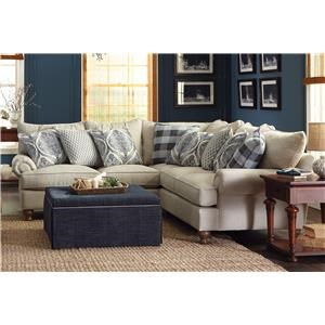 2-Piece Sectional Sofa with Rolled Arms and Turned Feet