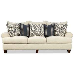 Transitional 100 Inch Sofa with Rolled Arms and Toss Pillows