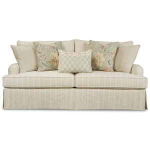 Traditional 98 Inch Sofa with Waterfall Skirt