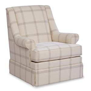 Traditional Skirted Glider Chair with Modified Wing Back and Rolled Arms