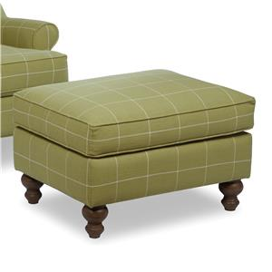 Traditional Ottoman with Turned Wood Legs