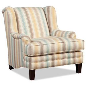 Transitional Wingback Accent Chair with Deep Seat