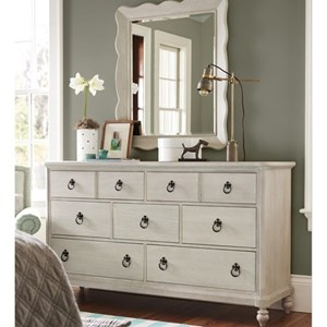 Cottage Seven Drawer Dresser and Mirror