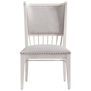Upholstered Seat and Back Windsor Back Chair with Nail Head Trim