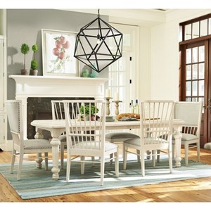 """Seven Piece Dining Set with Two 18"""" Table Leaves with Windsor Back Chairs"""