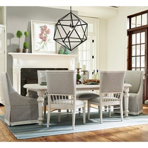 """Seven Piece Dining Set with Two 18"""" Table Leaves and Upholstered Winsdor Back Chairs"""