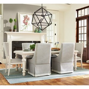 """Seven Piece Dining Set with Two 18"""" Table Leaves and Fully Upholstered Chairs"""