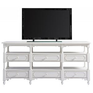 Cottage Weekender Console with Six Drawers and Open Display Shelving