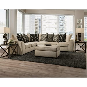 Casual 2-Piece Sectional with Pillow Back