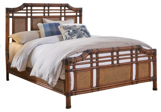 Palm Island Queen Rattan Bed by Pelican Reef at Baer's Furniture