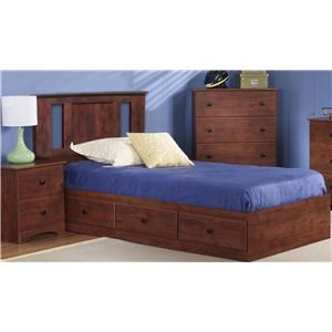 Twin Panel Bed with Storage, Dresser, Mirror, Nightstand and Chest Package