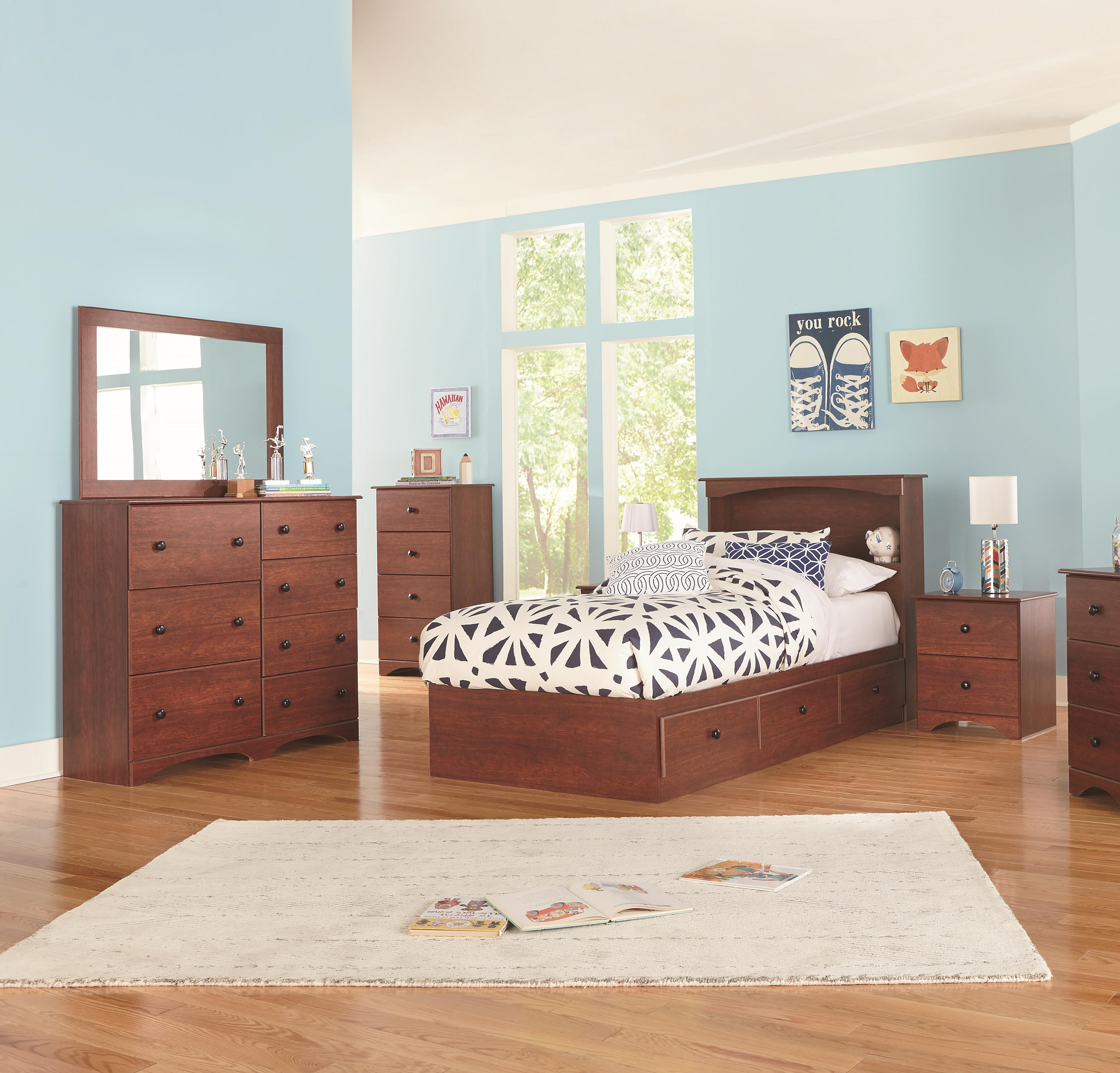 11000 Series Full Bookcase Bed with Storage Package by Perdue at Sam Levitz Furniture