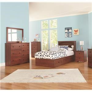 Twin Bookcase Bed with Storage, Dresser, Mirror, Nightstand and Chest Package