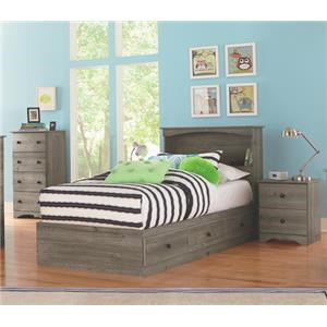 4 Piece Twin Storage and Bookcase Headboard Group