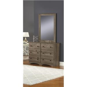 "45"" 6 Drawer Dresser and Mirror Package"