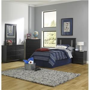 Full Panel Bed with Storage Base, Dresser, Mirror and Nightstand Package