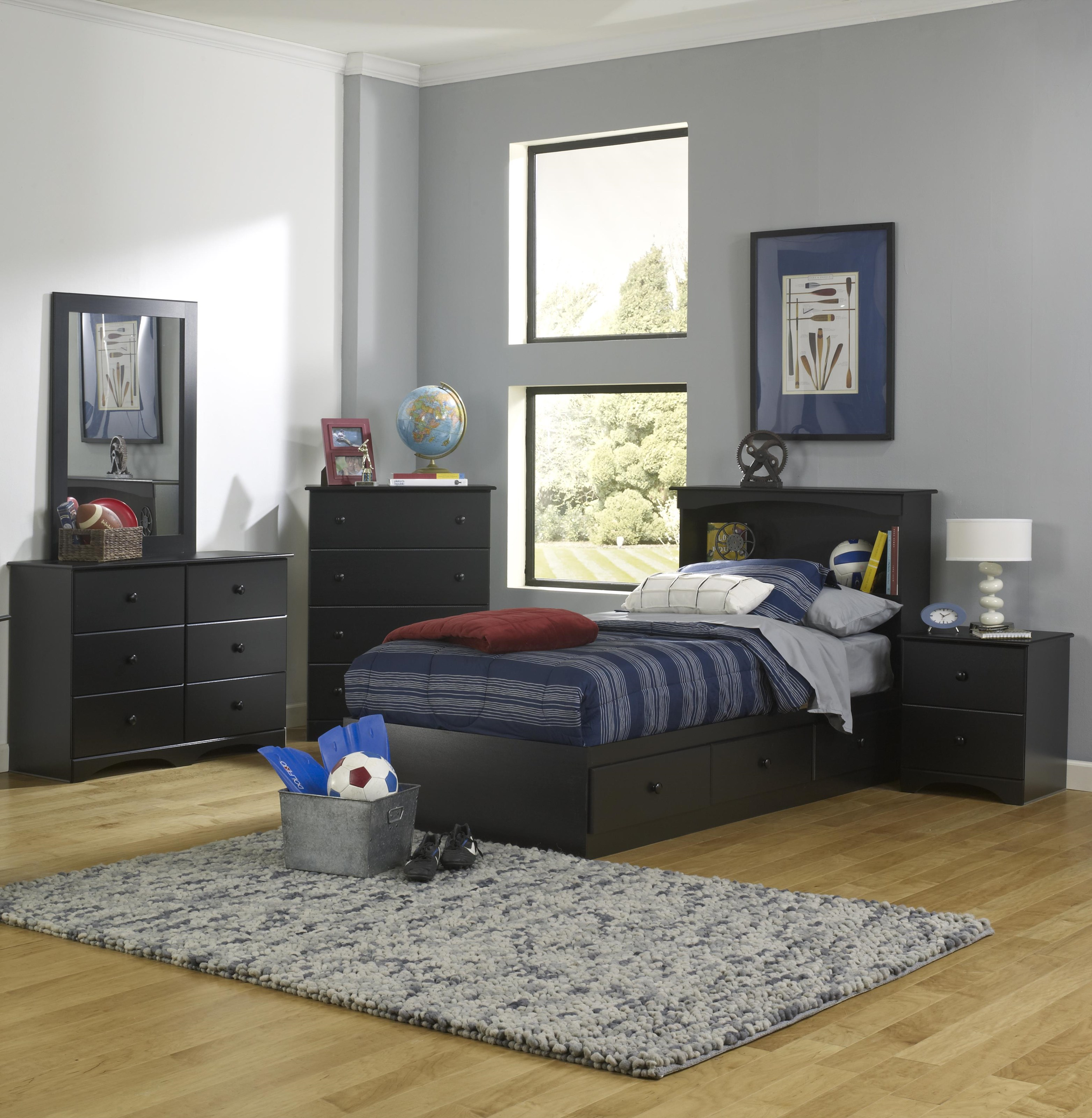 Twin Bookcase Bed with Storage Base Package