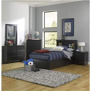Full Bookcase Bed with Storage Base, Dresser, Mirror, Nightstand and Chest Package