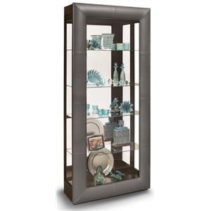 Alamance Curio Cabinet with Padded Leather Front Frame