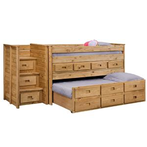 Pine Crafter Youth Bedroom Twin Juinor Loft Bed with Trundle