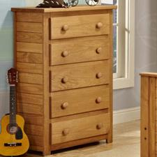 Pine Crafter Youth Bedroom 5 Drawer Chest
