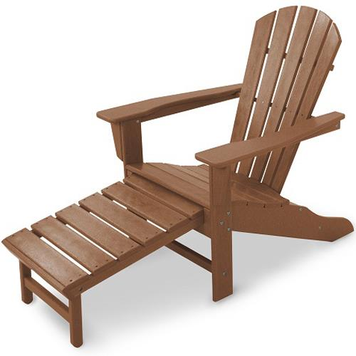 Palm Coast Adirondack Lounge Chair w/ Hideaway Ottoman by Polywood at Rooms and Rest