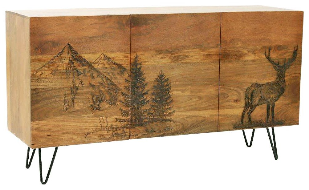 Solid Wood Cabinet with Laser Etched Deer