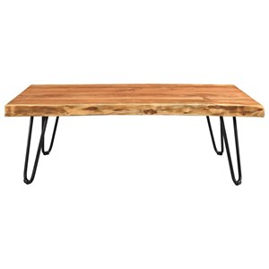 Live Edge Solid Wood Coffee Table with Hairpin Legs