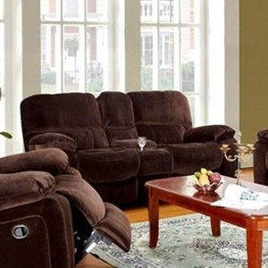 Casual Reclining Love Seat with Console and Cup Holders