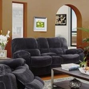 Casual Power Reclining Love Seat with Storage Console and Cup Holders