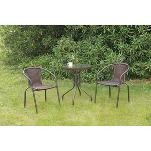 Outdoor Bistro Set with Glass Top Table