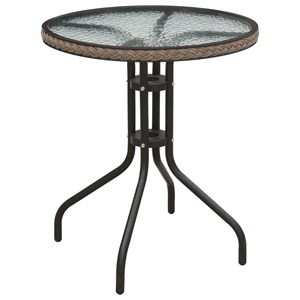 Round Outdoor Bistro Table with Glass Top