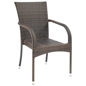 Outdoor Arm Chair with Espresso Rattan