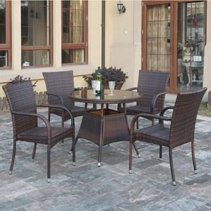 Espresso Rattan Outdoor Dining Set