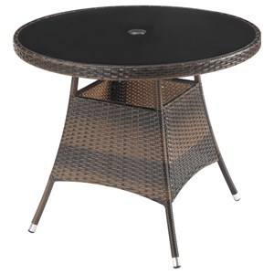 Glass Top Dining Table with Espresso Rattan Frame