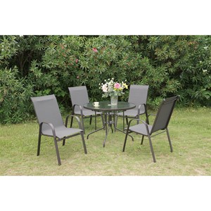 Outdoor Dining Set with Round Glass Top Table