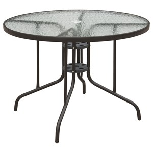 Metal Outdoor Dining Table with Glass Top