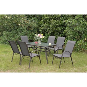 Metal Outdoor Dining Set with Glass Top Table
