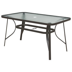 Rectangular Outdoor Dining Table with Glass Top