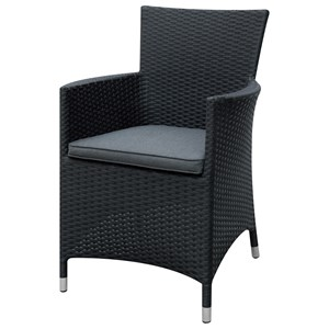 Dark Brown Outdoor Chair with Black Rattan