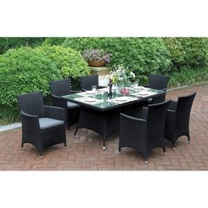 Dark Brown Resin Rattan Outdoor Dining Set