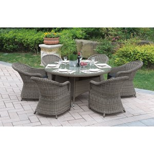 Tan Outdoor Dining Set with Glass Top Table