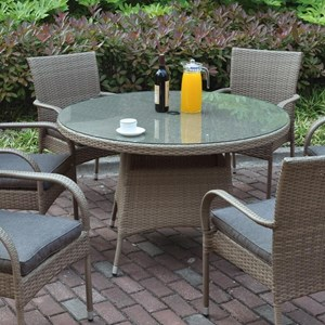 Resin Rattan Table with Glass Top