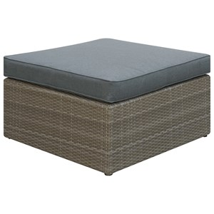 Upholstered Outdoor Ottoman and Resin Wicker Base